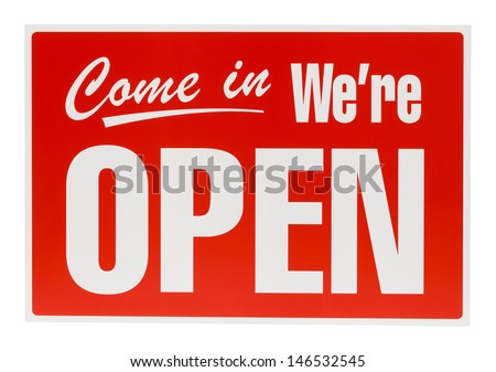 PLastic Open Sign Isolated on White Background. - stock photo