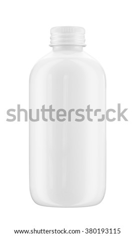 Plastic or ceramic bottle isolated on white background. 3D Mock up for your design. Beer, shampoo, conditioner, shower gel, cosmetics, beverage, lemonade, soda, perfume.