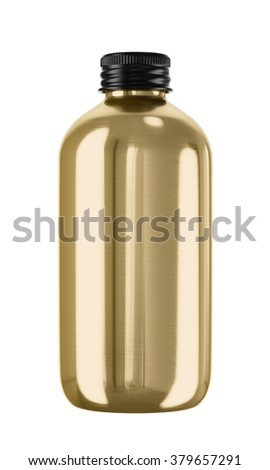 Plastic or glass bottle isolated on white background. 3D Mock up for your design. Oil, shampoo, conditioner, shower gel, cosmetics, beverage, perfume.