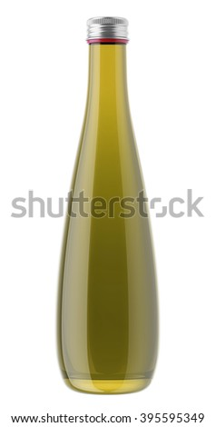 Plastic or glass olive oil bottle isolated on white background. 3D Mock up for your design. Beer, shampoo, conditioner, shower gel, cosmetics, beverage, lemonade, soda, juice, liquor, syrup, wine.