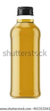 Plastic or glass small bottle isolated on white background. 3D Mock up for your design. Oil, cosmetics, beverage, alcohol.