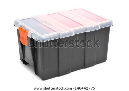 plastic organiser with storage compartments on a white background - stock photo