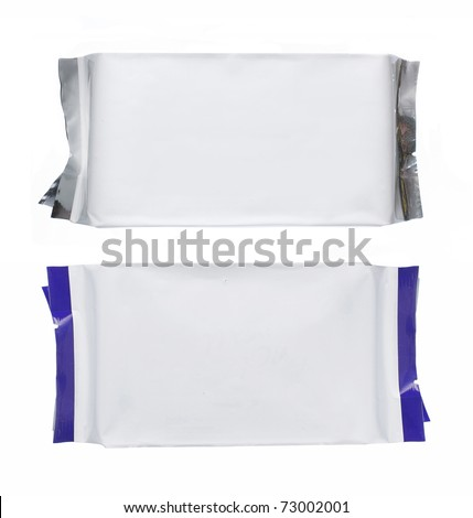 plastic pack with blue strips, isolated over white background - stock photo