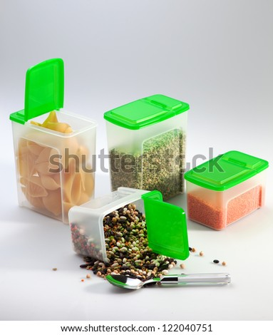 Plastic package with cereal - stock photo