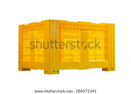 Plastic Pallet Container Isolated Included Clipping Path - stock photo