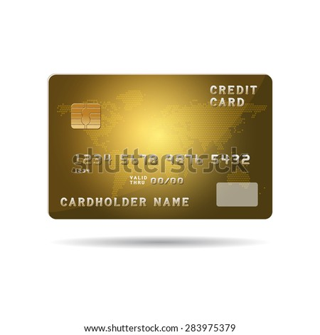Plastic payment card with chip and global map background illustration.Raster Illustration isolated on white.