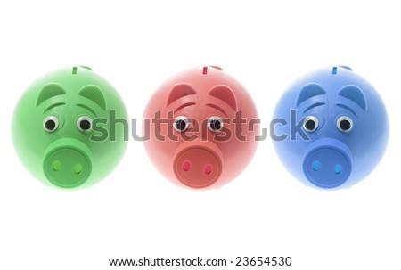 Plastic Piggy Banks on Isolated White Background - stock photo