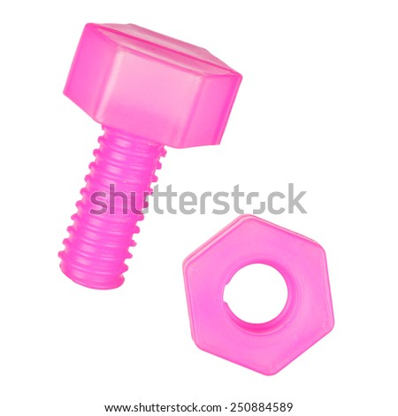 Plastic pink nut and bolt. A toy for children isolated on white background with clipping path - stock photo