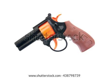 Plastic pistol toy isolated on white background.Kids revolver toy.Toy gun.Toy hand gun  - stock photo