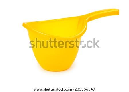 Plastic pitcher isolated on white background - stock photo