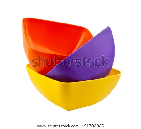 plastic plates isolated on white background closeup - stock photo