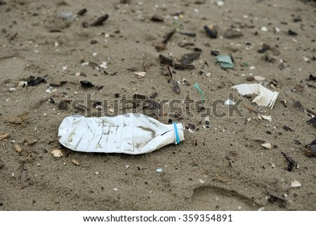 Plastic pollution sea - stock photo
