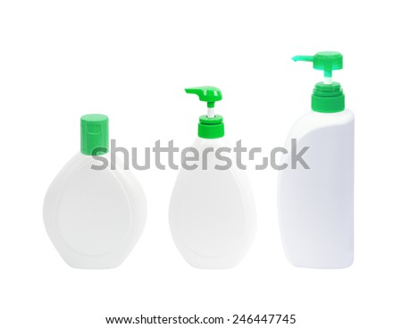 Plastic pump bottle without label isolated on white background - stock photo