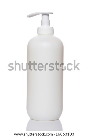 Plastic pump soap bottle without label reflected on white background - stock photo