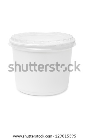 Plastic rectangular container for dairy foods. Isolated on a white. - stock photo