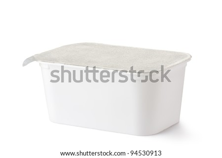 Plastic rectangular container with foil lid. Isolated on a white. - stock photo