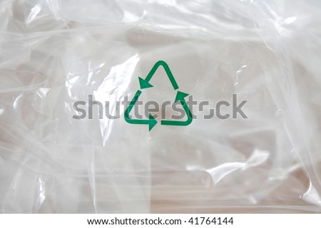 Plastic recycled with a recycling logo - stock photo