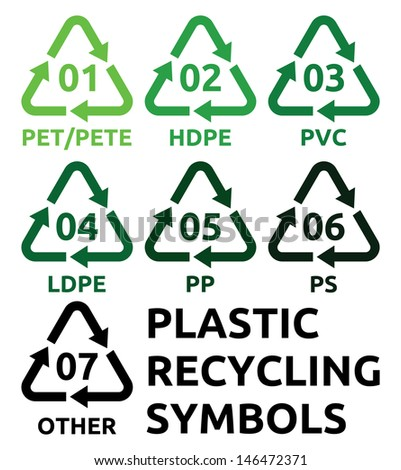 Plastic recycling symbols - stock photo