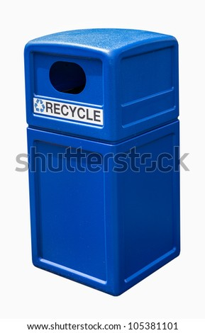 Plastic recycling trash garbage can with recycling symbol - stock photo