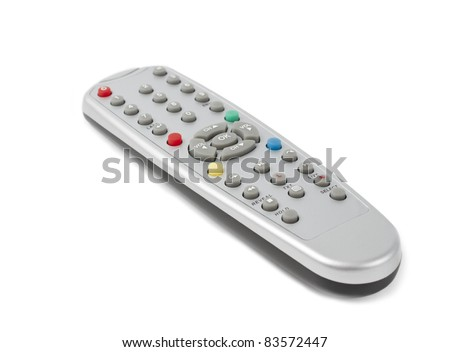 plastic remote control with colored buttons. The control is used for a television. - stock photo