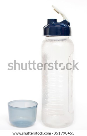 Plastic reusable water bottle isolated on white background  - stock photo