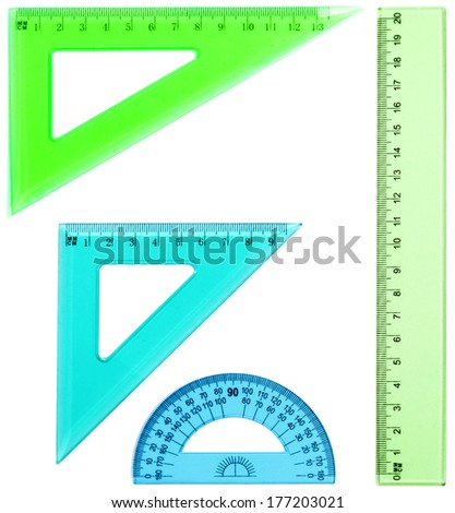 Plastic ruler, protractor, triangle, isolated on white background  - stock photo