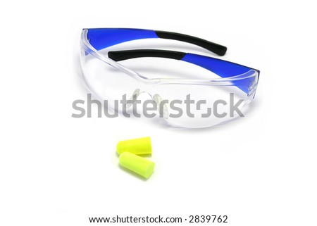 Plastic safety glasses and disposable earplugs