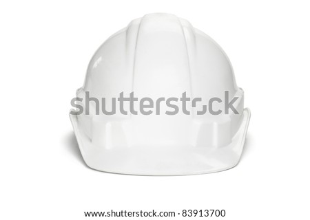 Plastic safety helmet on white background - stock photo