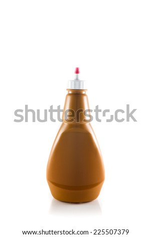 plastic sauce bottles isolated on white background - stock photo