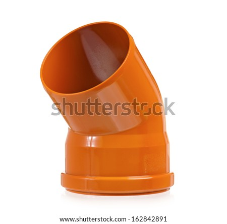 Plastic sewer pipe, isolated on a white background