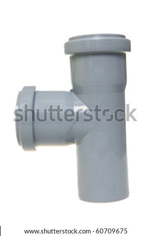 Plastic sewer pipe on a white background - stock photo