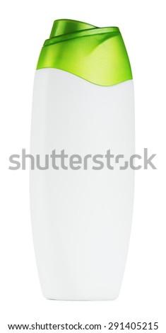 plastic shampoo bottle, isolated on white background - stock photo