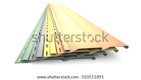 Plastic siding panels of different colors are on white background. - stock photo