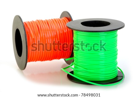 plastic spools isolated on white set with copy space