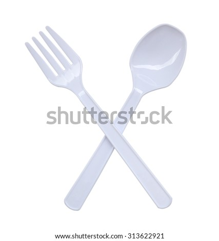 Plastic spoon and fork isolated on white background - stock photo