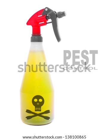Plastic sprayer with insecticide. Picture with space for your text. - stock photo