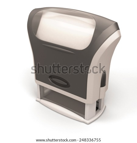 Plastic stamp close-up isolated on white background. 3d render image. - stock photo