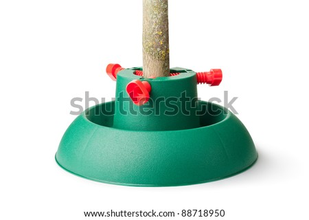 plastic stand for christmas tree isolated on a white - Plastic Christmas Tree Stand