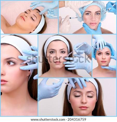 Plastic surgery collage - stock photo