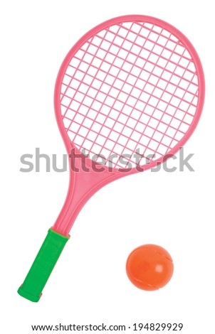 Plastic tennis racket with ball isolated on white. Clipping path included. - stock photo