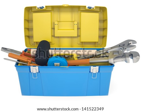 Plastic tool box with tools. Isolated render on a white background - stock photo
