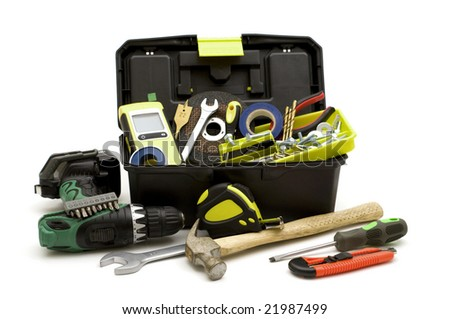 plastic toolbox and tools on white background