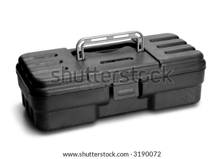 plastic toolbox closed on white background - stock photo