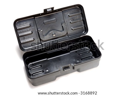 plastic toolbox opened on white background - stock photo