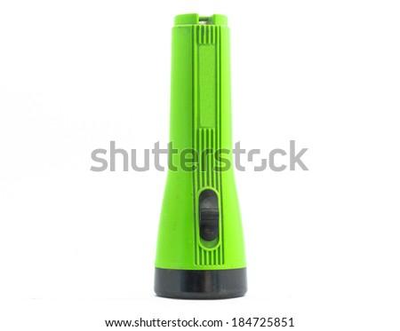 plastic torch flashlight isolated on white - stock photo