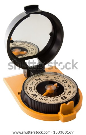 Plastic tourist compass with mirror isolated on white background diagonal view - stock photo
