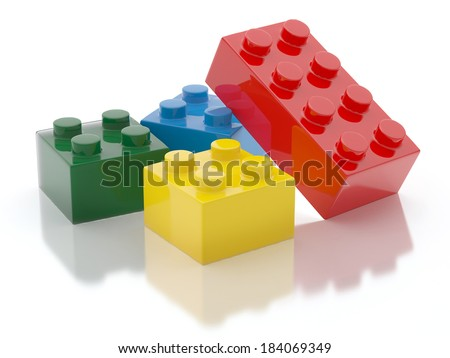 Plastic Toy Blocks Isolated on White Background - stock photo