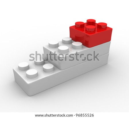 Plastic toy blocks on white background. Toys bricks. 3d render - stock photo