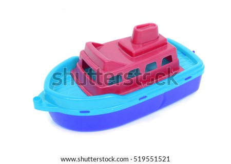 plastic toy boat on the white background