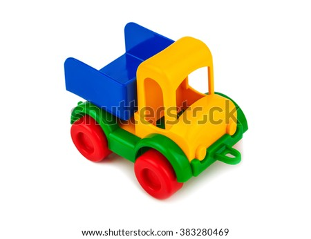 plastic toy car on white background